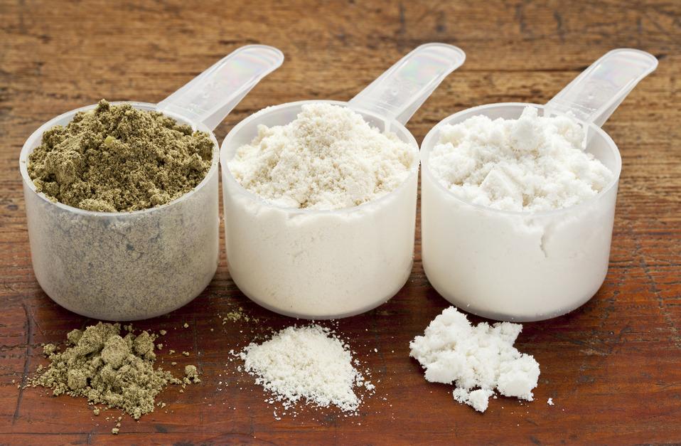 Hemp and whey protein powders.