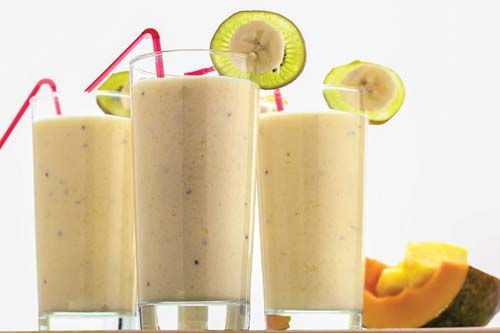 Kiwi banana mango monster protein shake from the cook book The Shredded Chef.