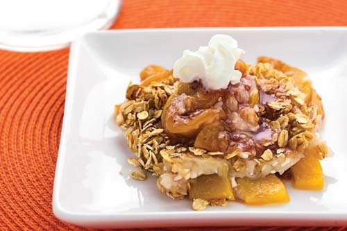 Peach cobbler from the cook book The Shredded Chef.