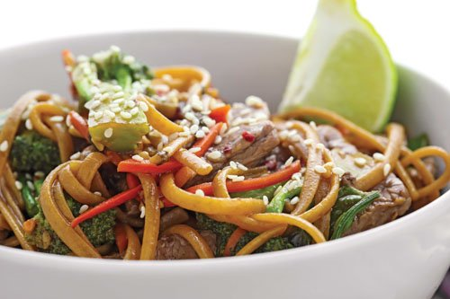 Beef lo mein from the cook book The Shredded Chef.