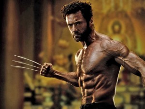 Hugh Jackman shirtless as Wolverine.