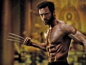 Hugh Jackman shirtless as Wolverine.