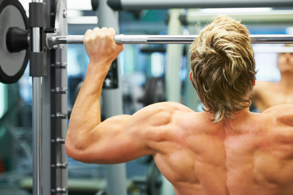 Working on his back muscles