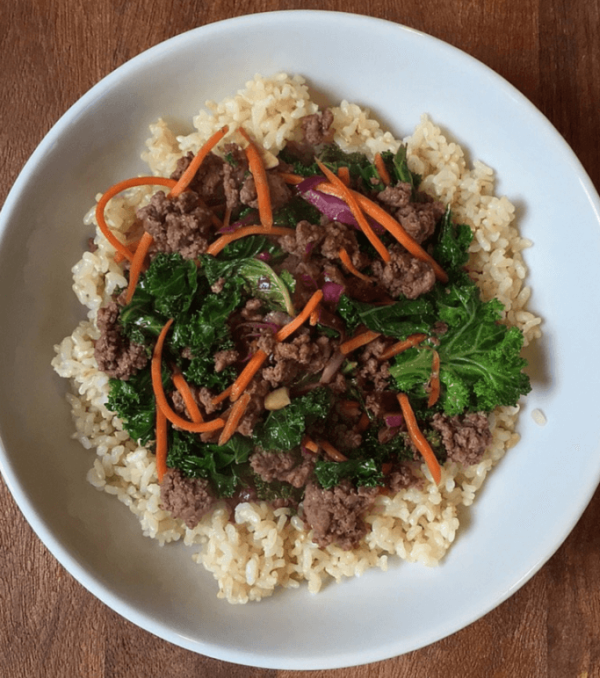 GROUND BEEF AND KALE STIR FRY
