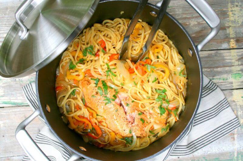 healthy one pot salmon pasta recipe
