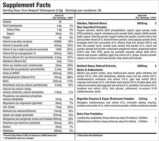 athletic greens supplement facts