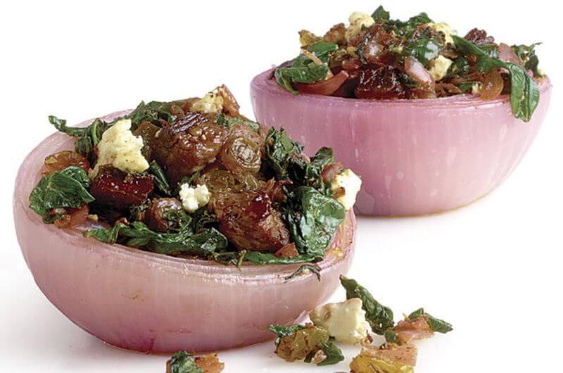 lean steak stuffed onions recipe