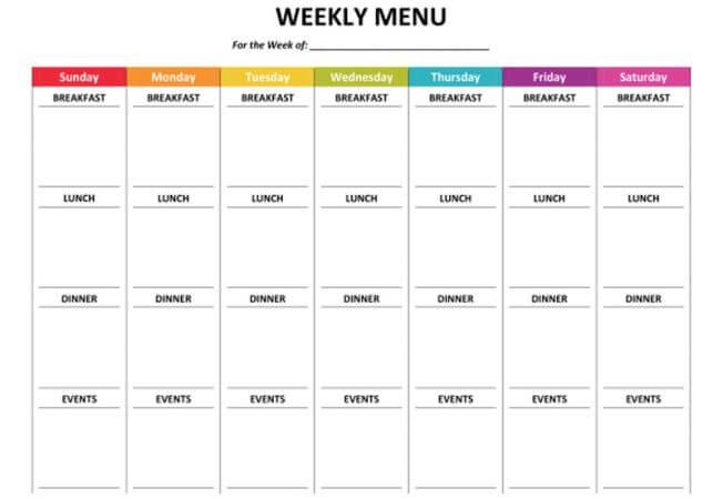 meal prep schedule