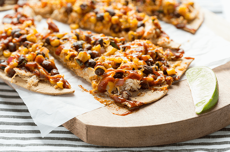 BBQ Chicken flatbread post workout meal