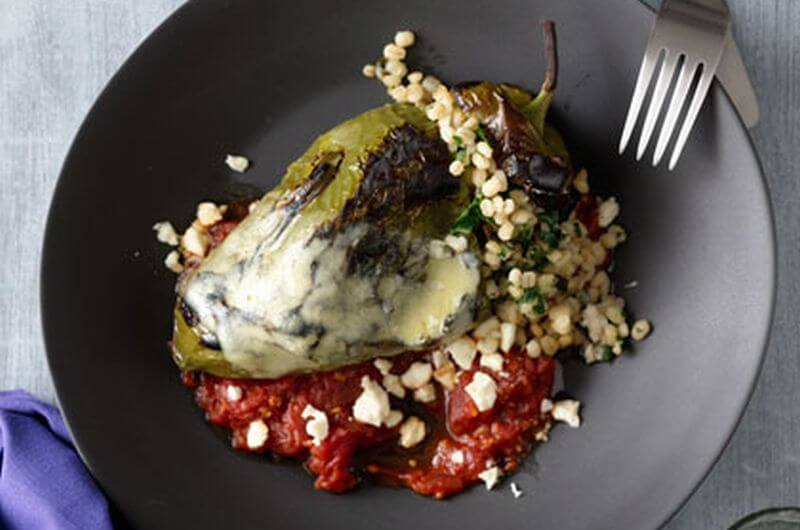 barley stuffed poblanos quick lunch recipe