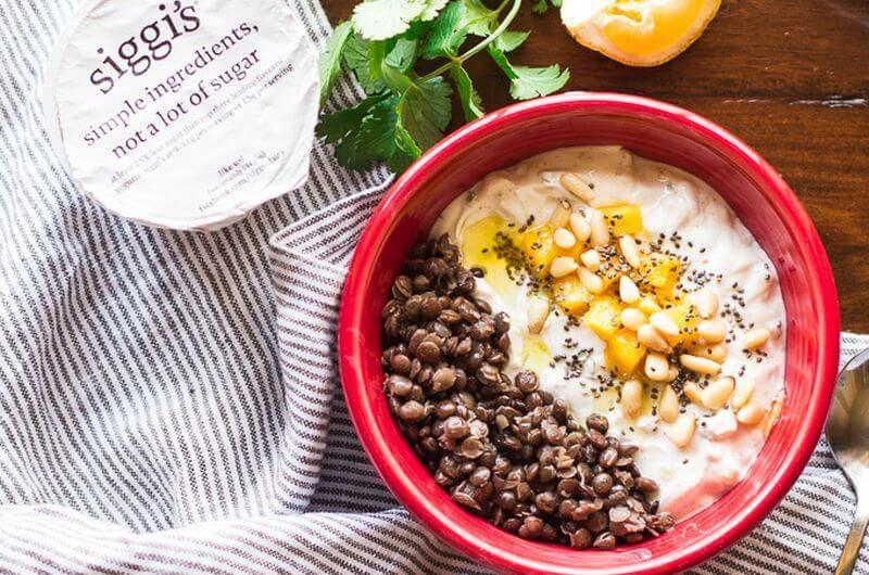 savory yogurt bowl mango cucumber raita quick breakfast