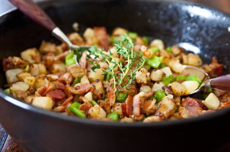 broccoli potato bacon hash breakfast quick idea