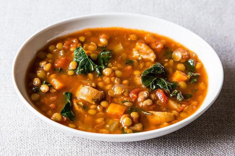easy crock pot sausage lentil soup