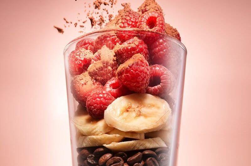 quick breakfast mocha berry almond smoothie idea
