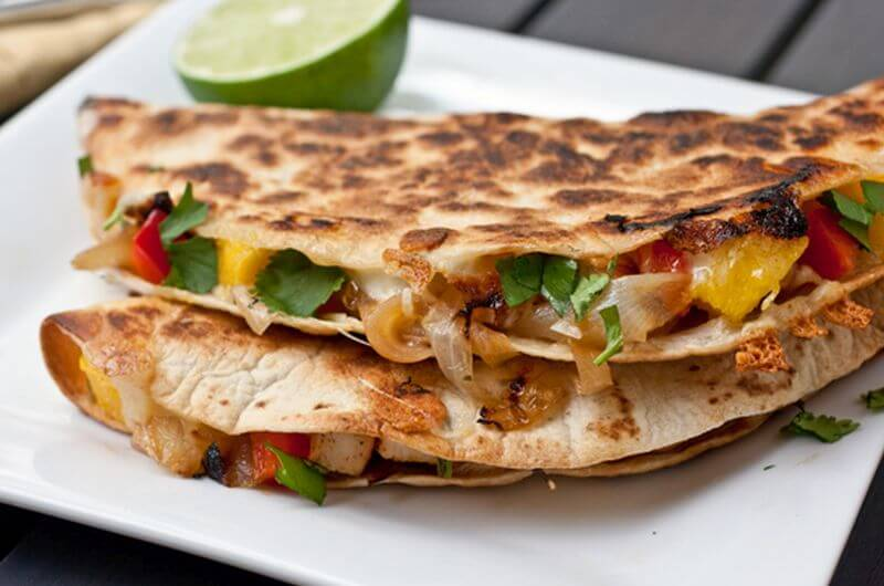 quick healthy caramelized onion mango quesadillas