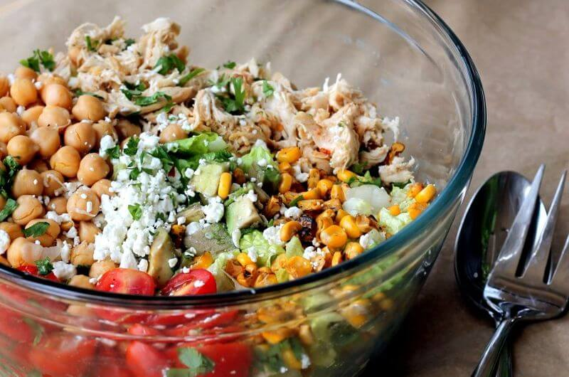 quick healthy chopped chicken salad meal