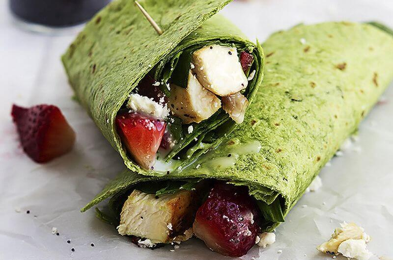 quick healthy strawberry spinach wraps