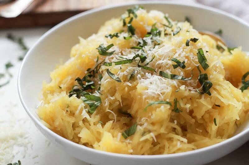 easy parmesan herb microwave spaghetti squash recipe