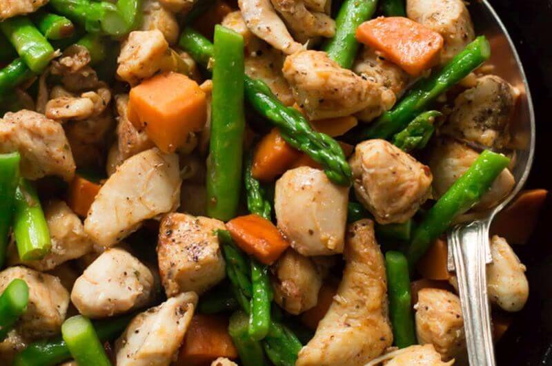 high protein sweet potato chicken skillet