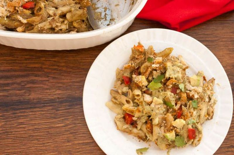 Creamy Avocado Noodles and Tuna Casserole