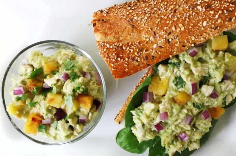 avocado pineapple chicken salad sandwich