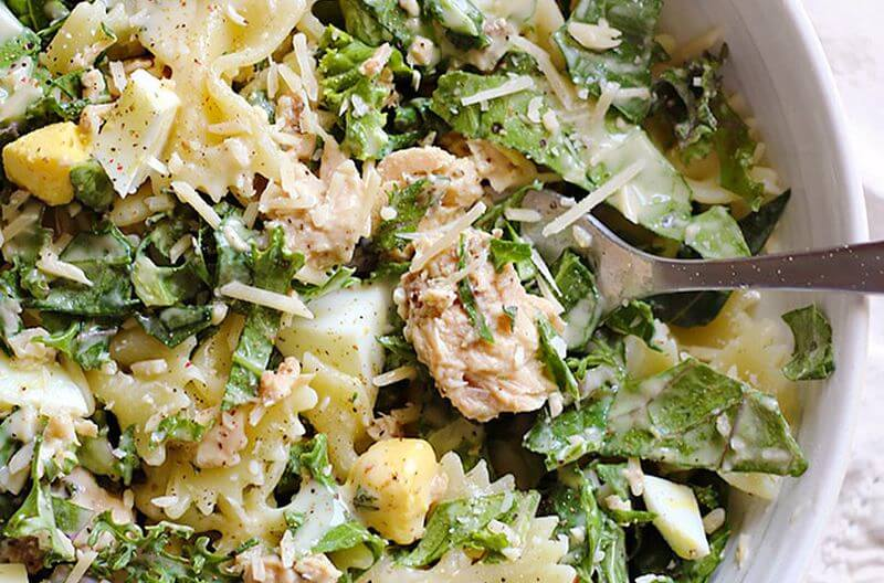 kale salmon caesar salad