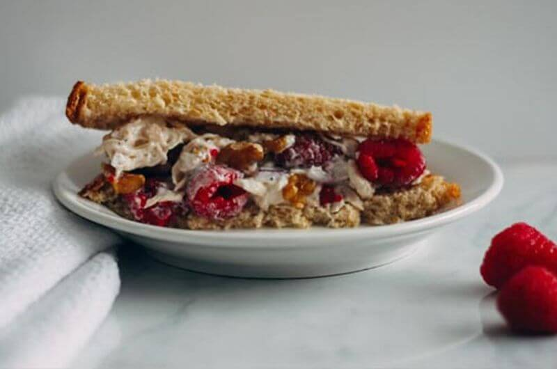 raspberry walnut chicken salad sandwich