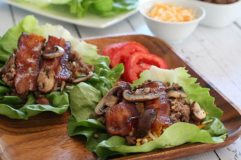 bacon mushroom lettuce wrap cheeseburger