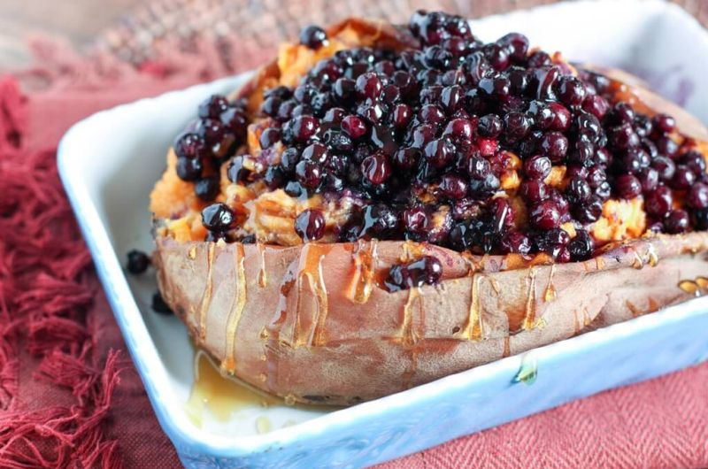 twice baked blueberry sweet potato