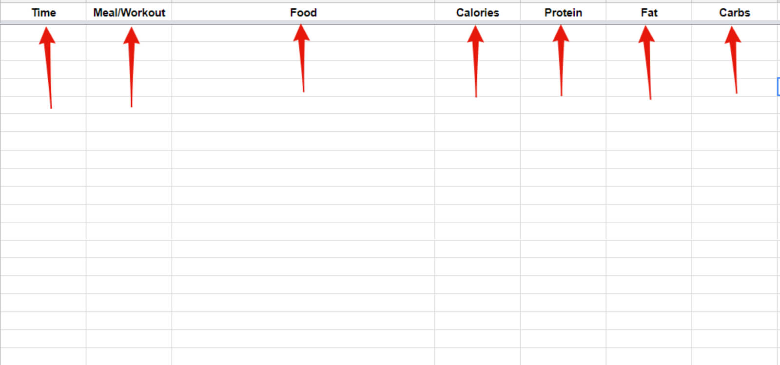meal plan spreadsheet example