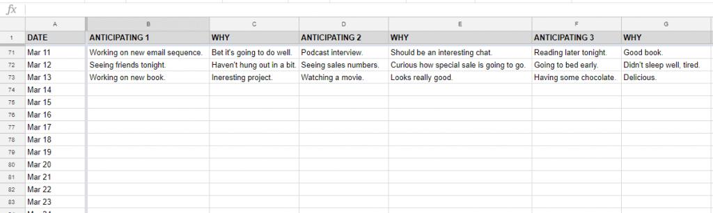 gratitude spreadsheet example