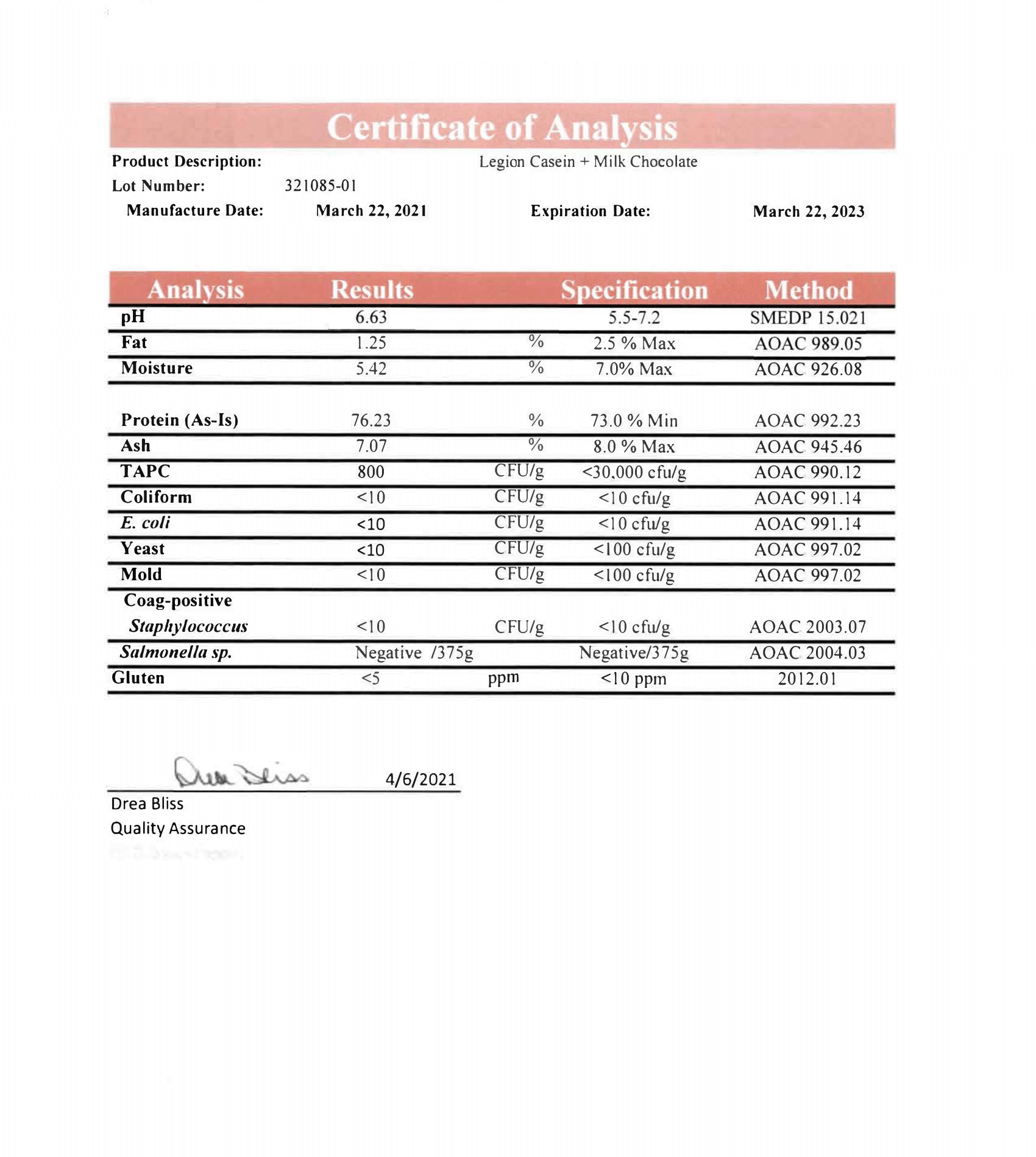 Casein Lab Test Certificate Page 1