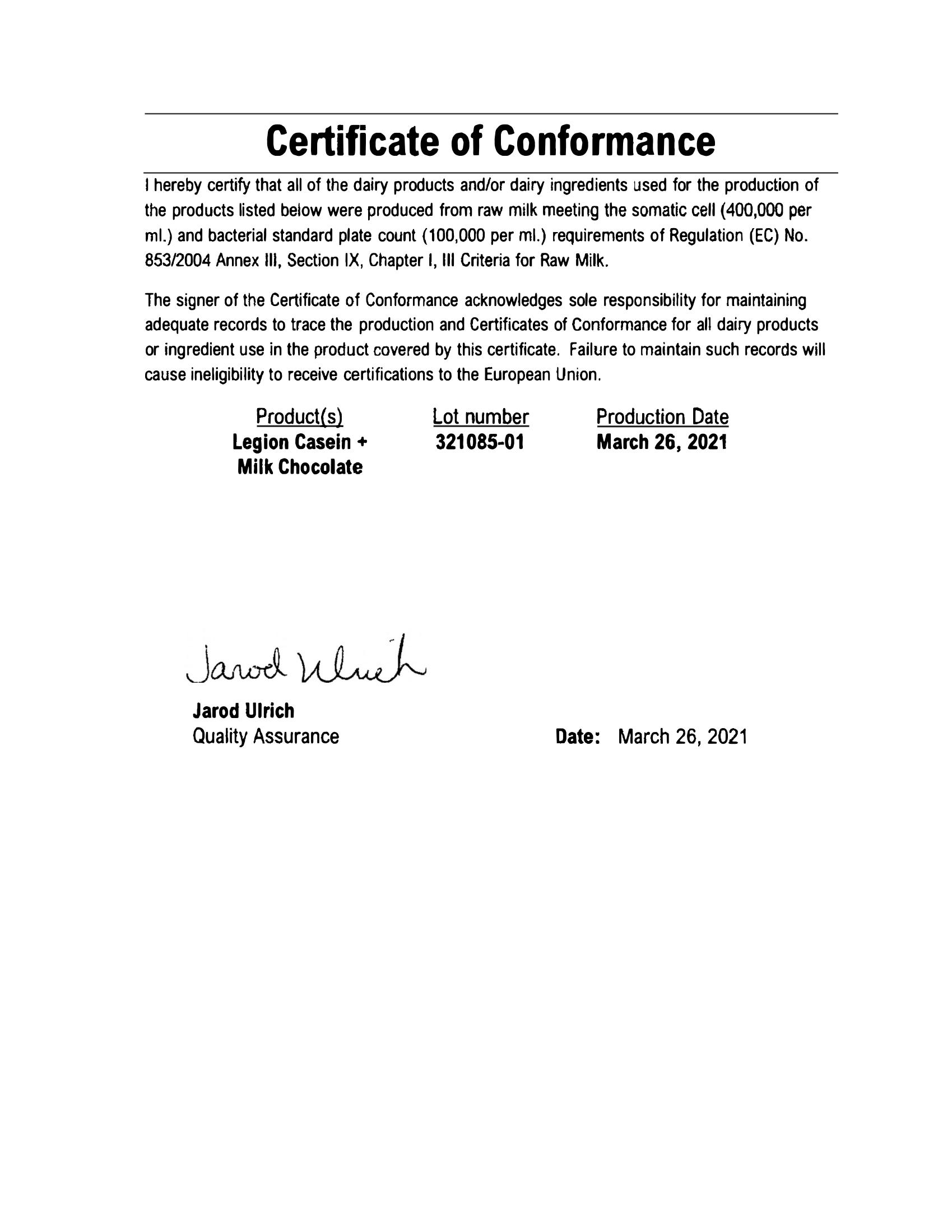 Casein Lab Test Certificate Page 2