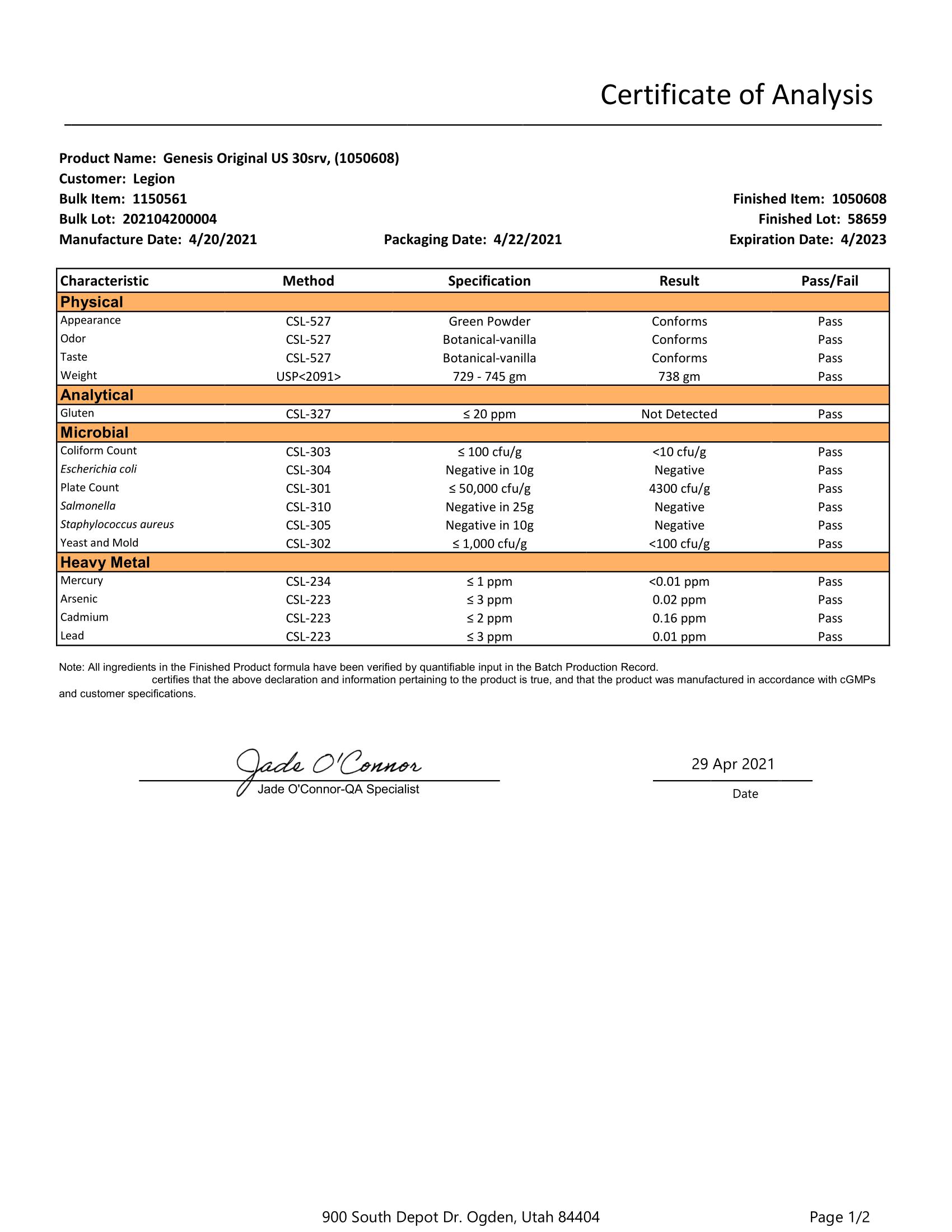 Genesis Lab Test Certificate