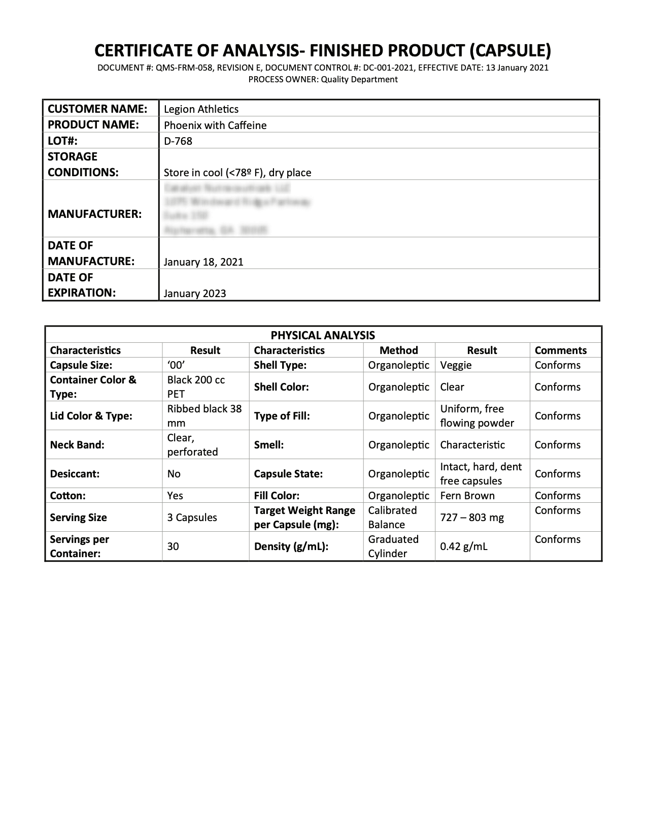 Phoenix No-Stim Lab Test Page 1