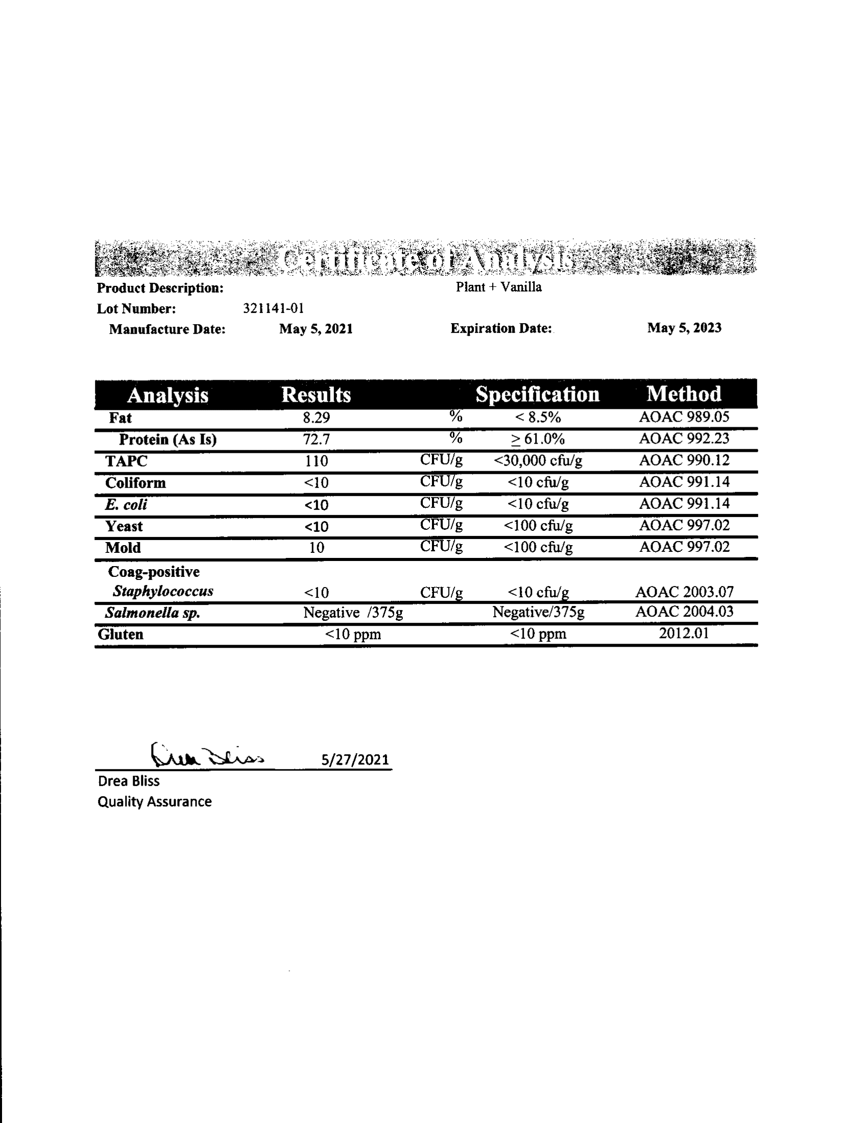 Plant+ Lab Test Certificate of Analysis
