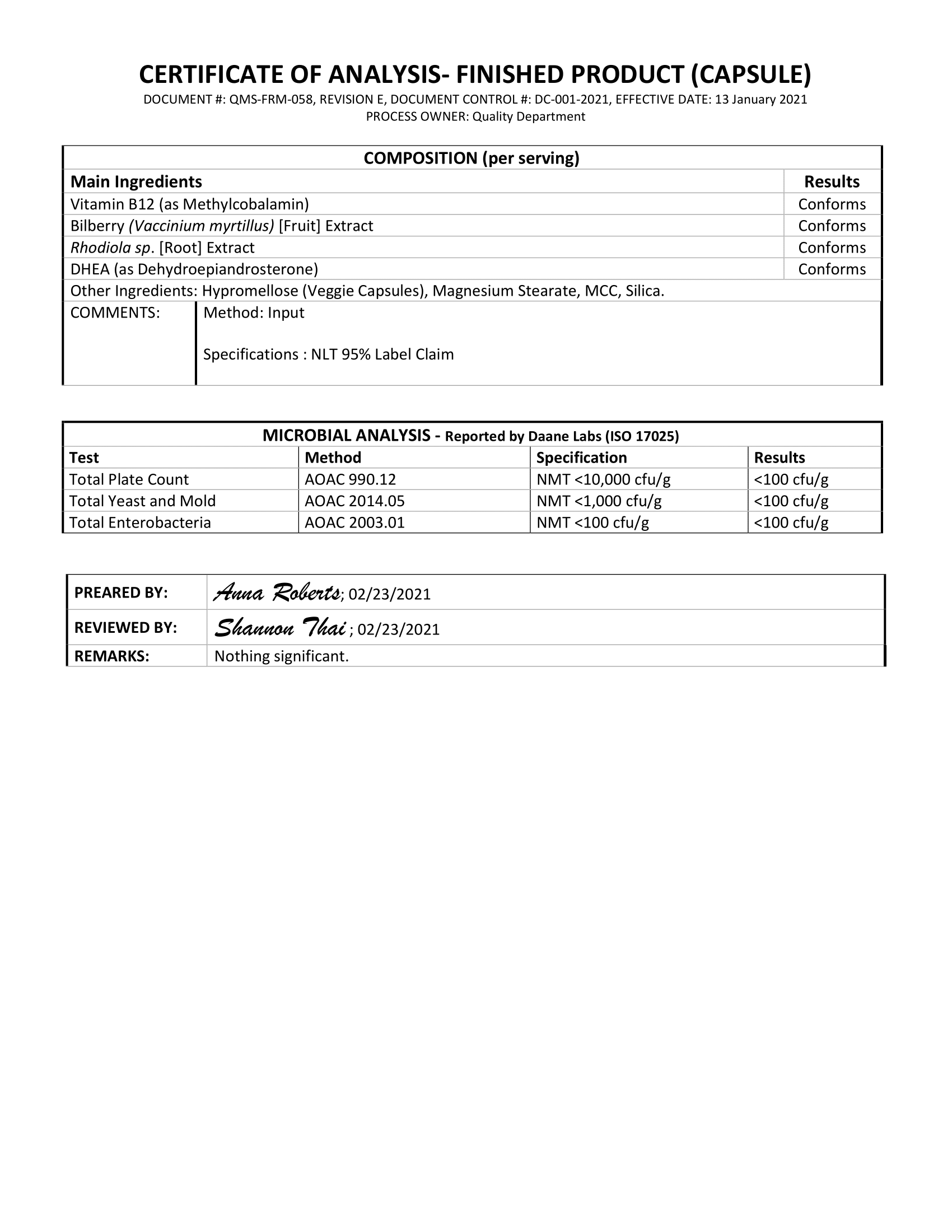 Vitality Lab Test Certificate Page 2