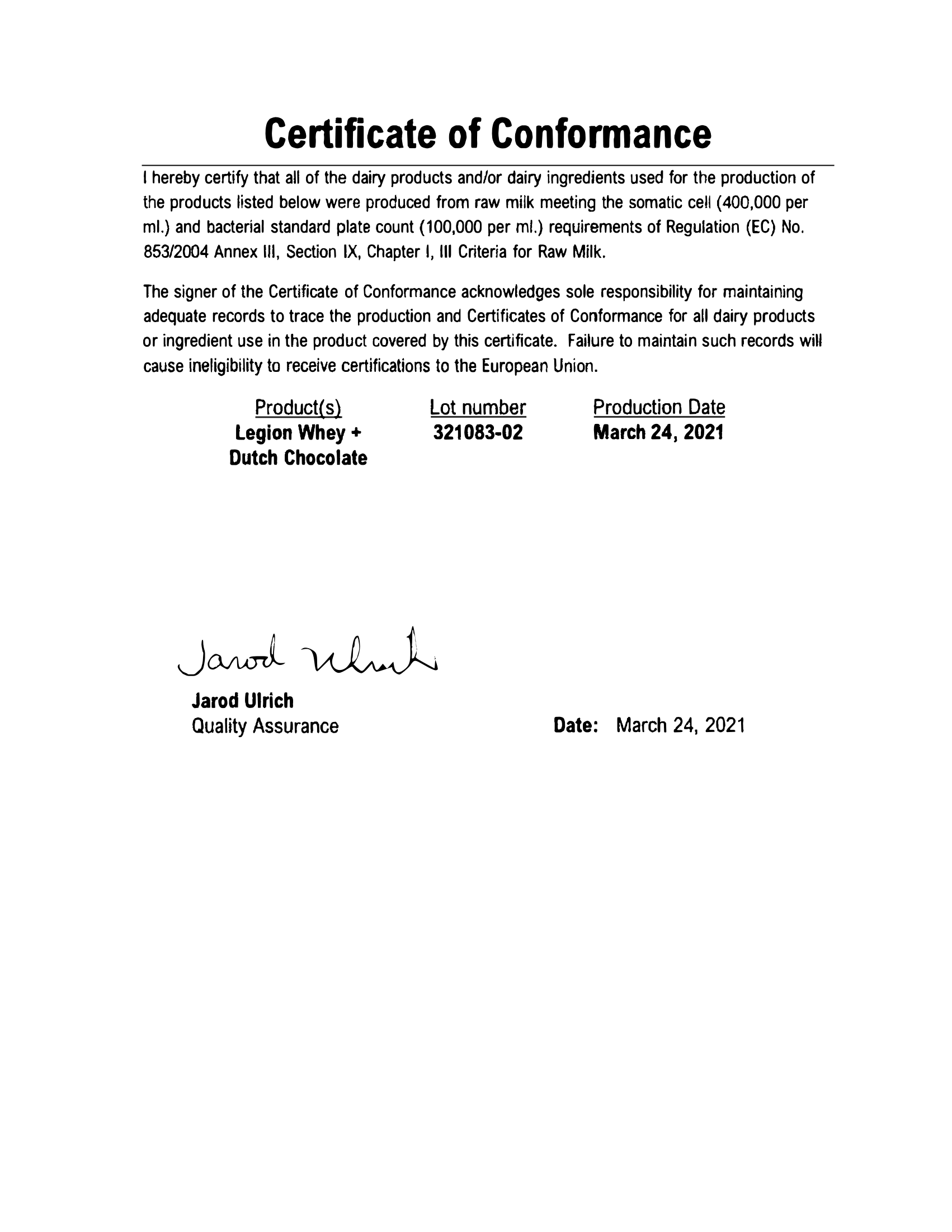 Whey+ Lab Test Certificate Page 2