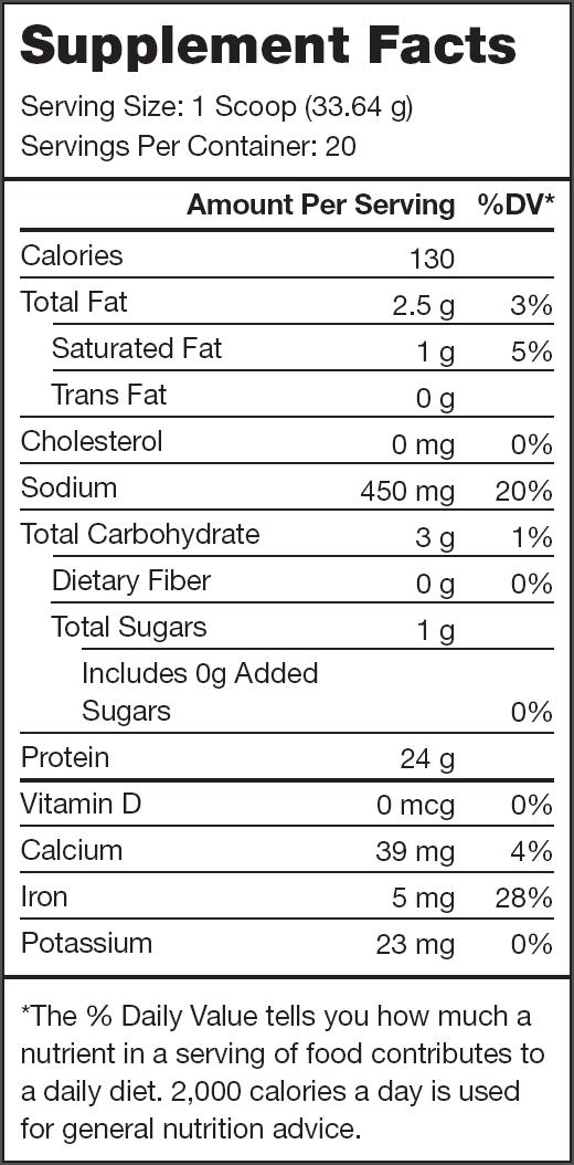 Plant+ Vanilla Supplement Facts