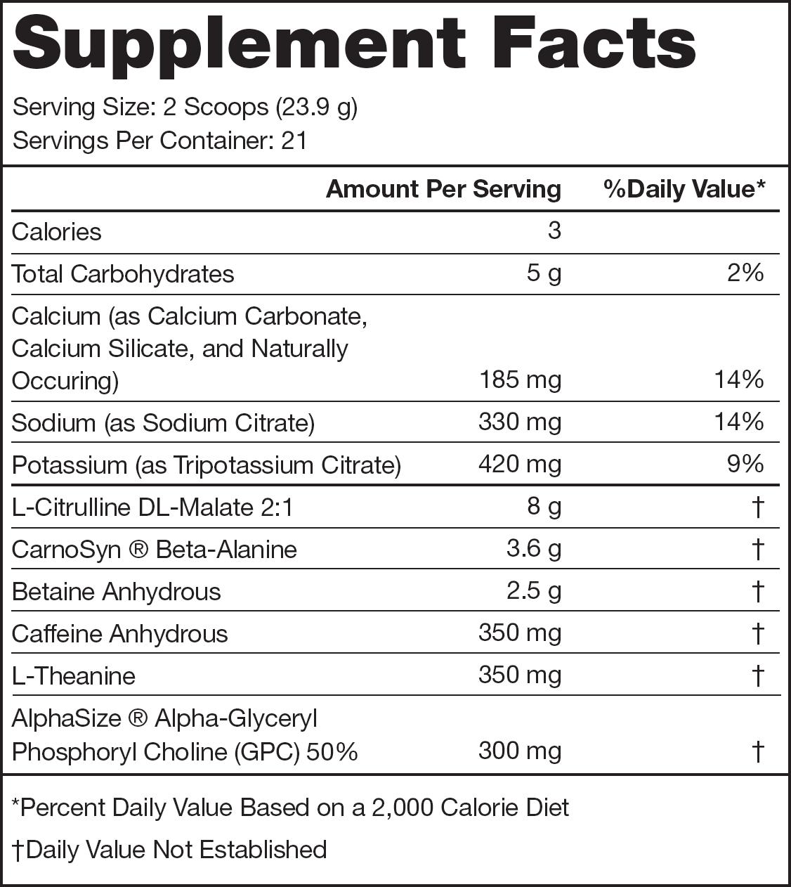 Pulse Bubble Gum Supplement Facts
