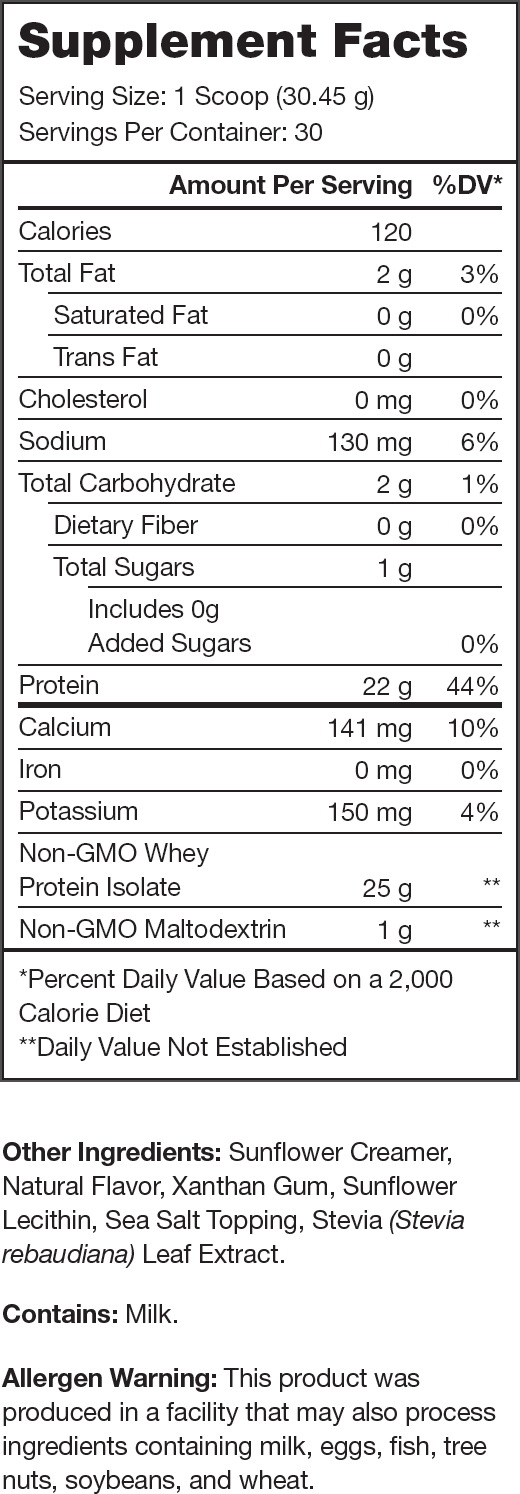 Whey+ Birthday Cake Supplement Facts