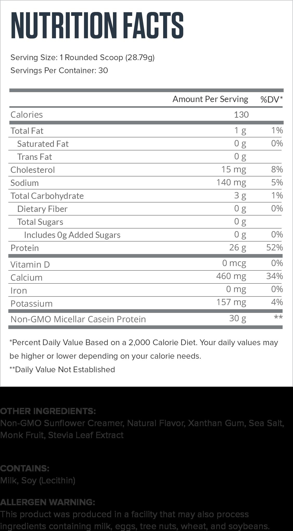 Casein+ Banana Cream Pie Supplement Facts