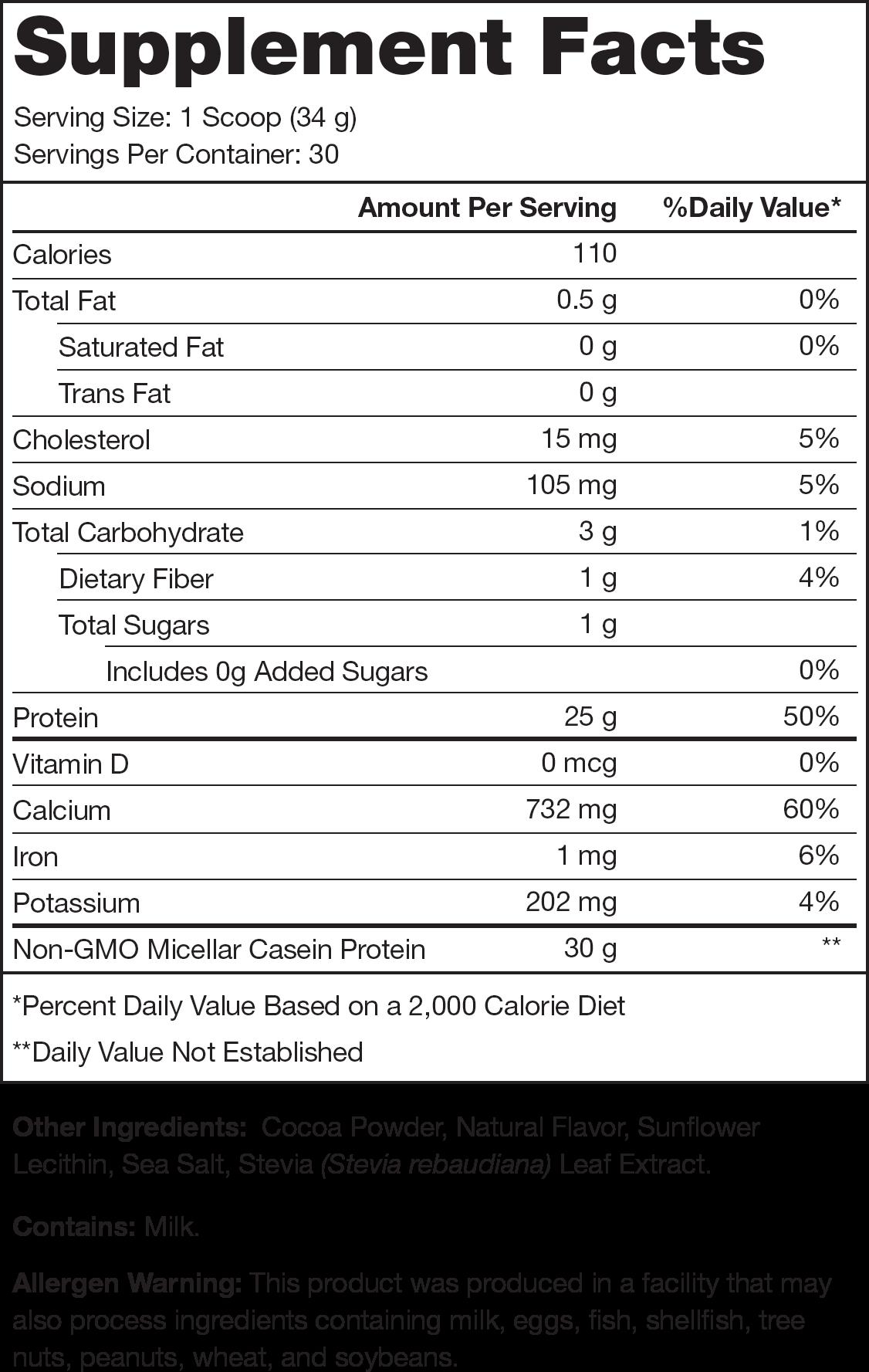 Casein+ Milk Chocolate Supplement Facts