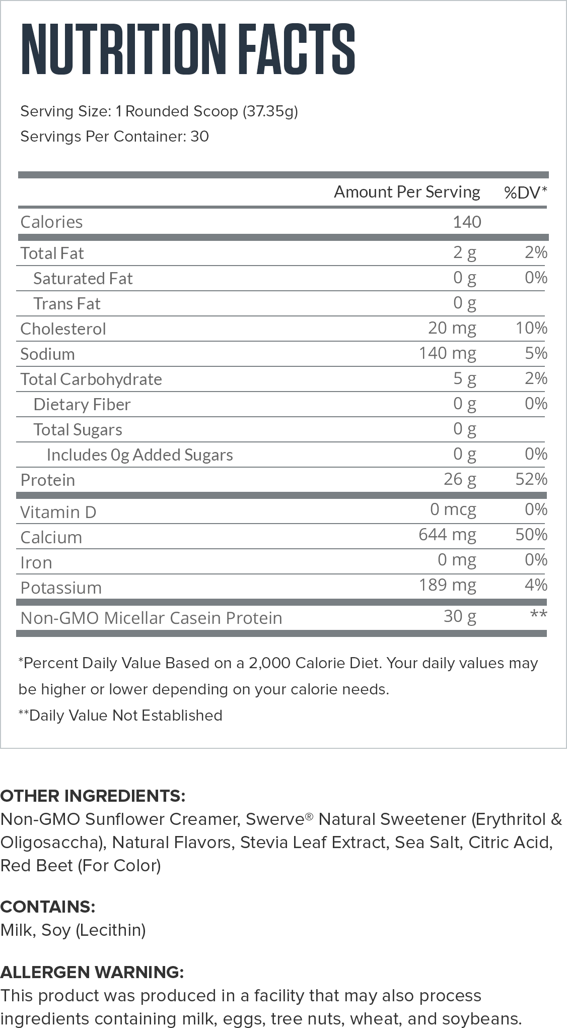 Casein+ Strawberry Supplement Facts