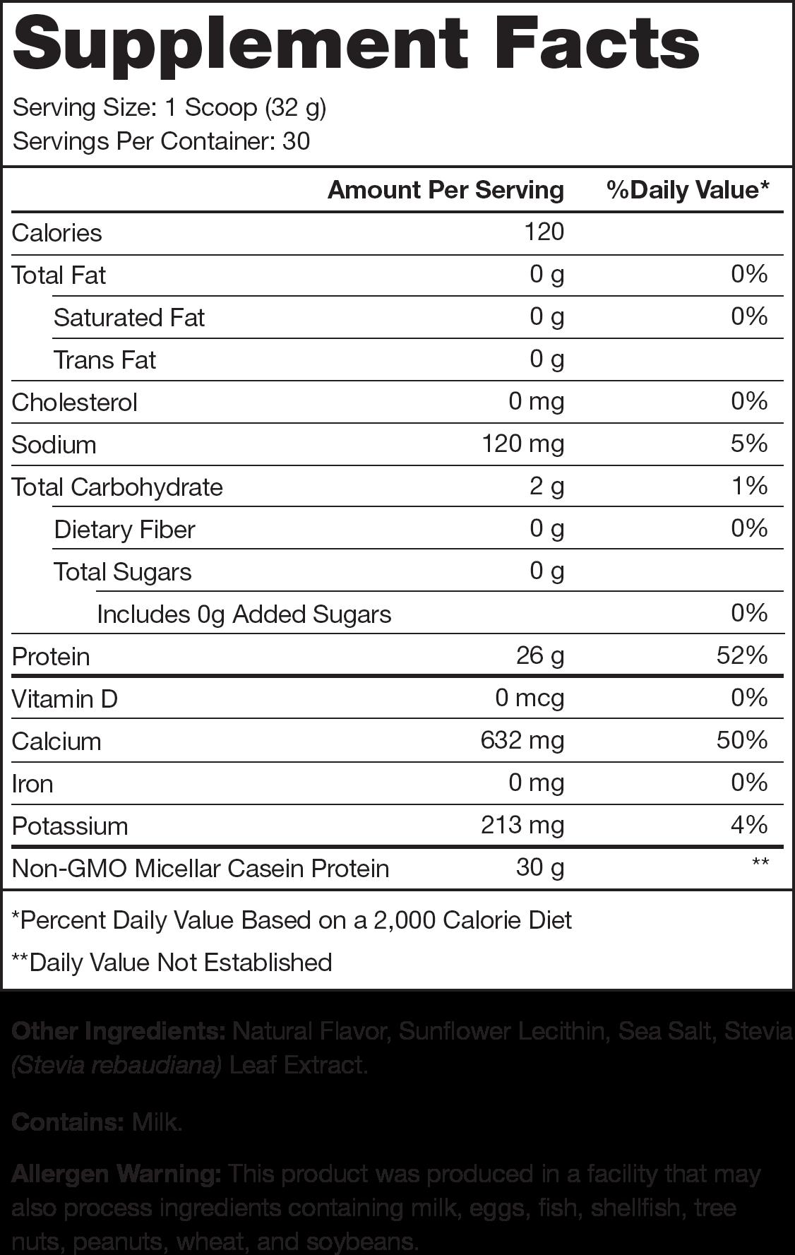 Casein+ Vanilla Supplement Facts