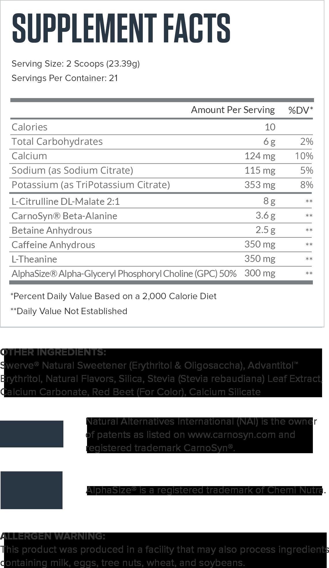 Pulse Cherry Limeade Supplement Facts