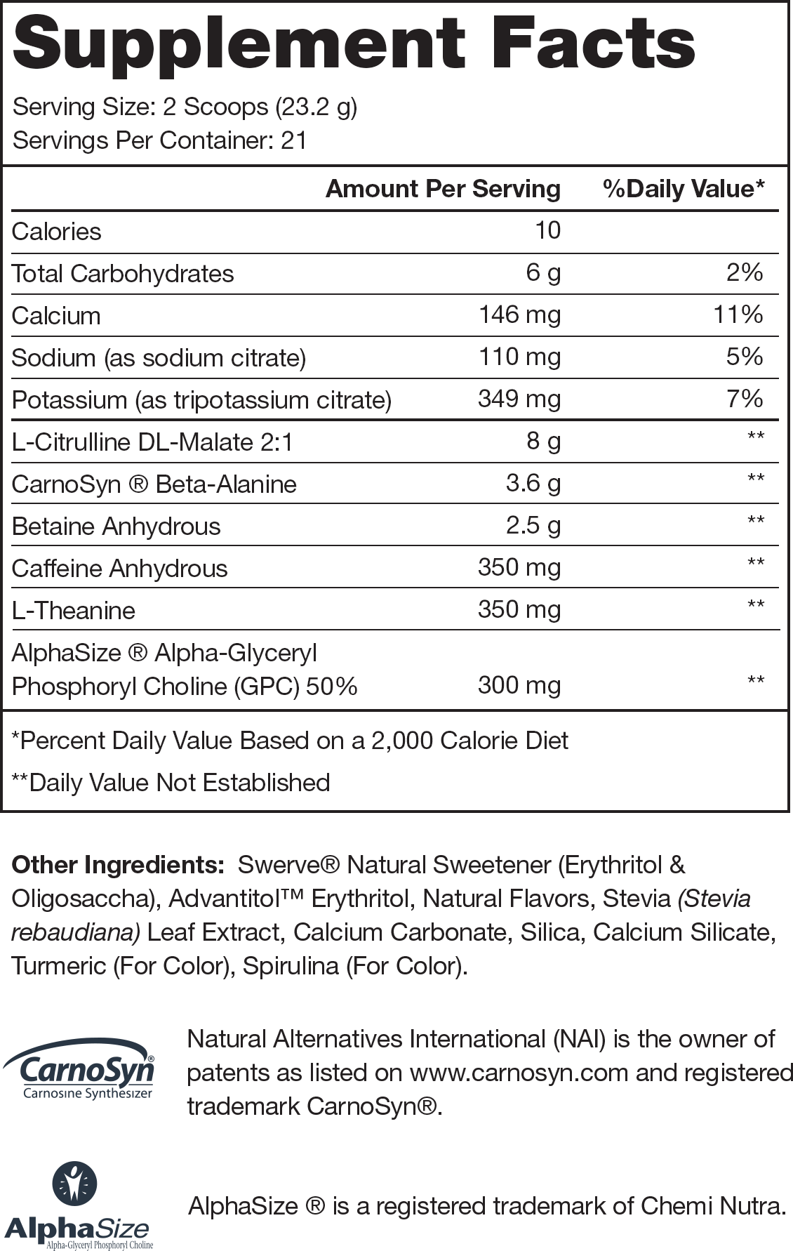 Pulse Green Apple Supplement Facts