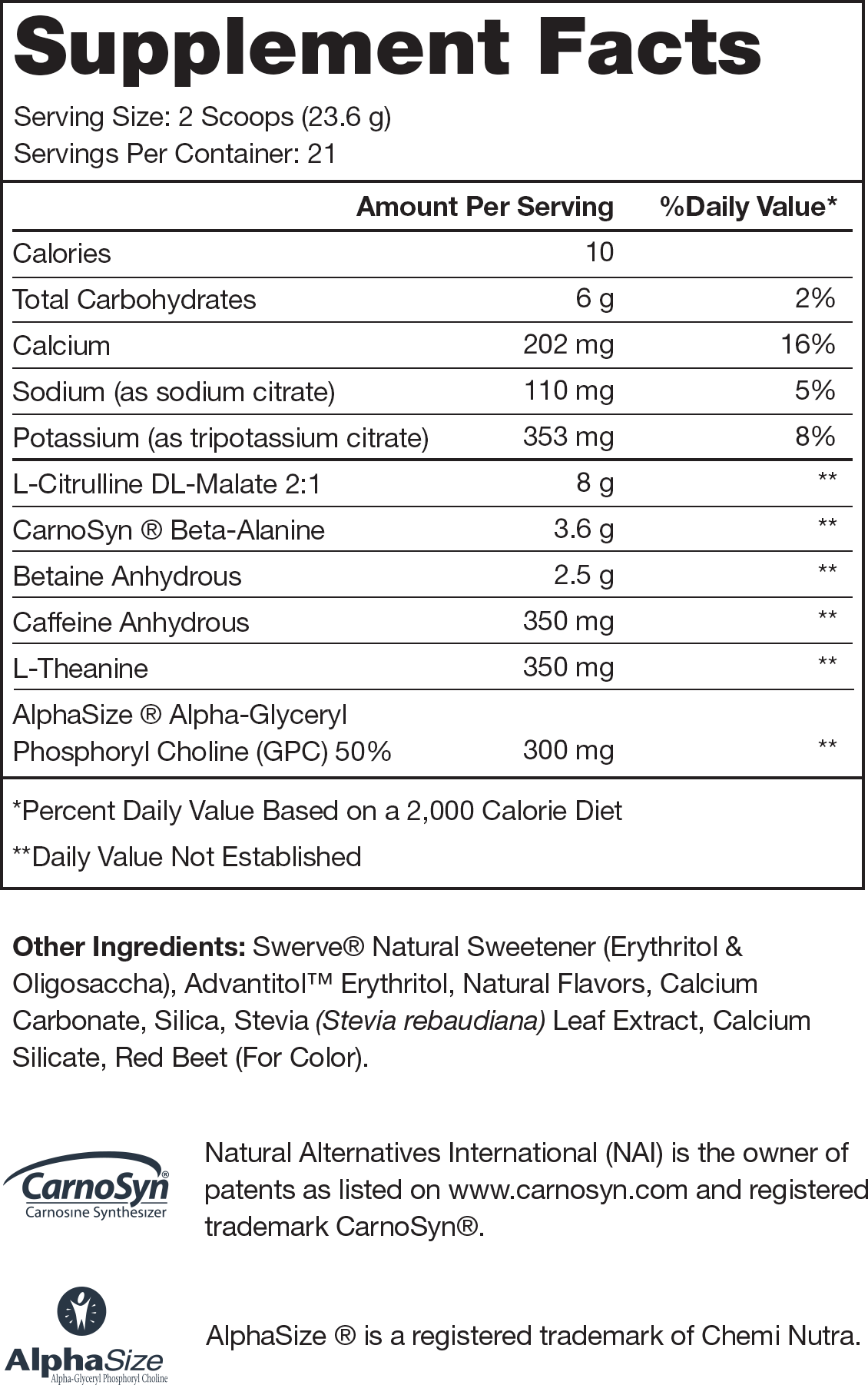 Pulse Pink Lemonade Supplement Facts