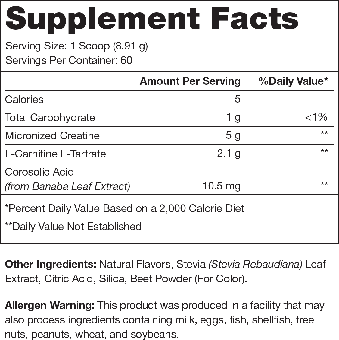 Recharge Fruit Punch Supplement Facts