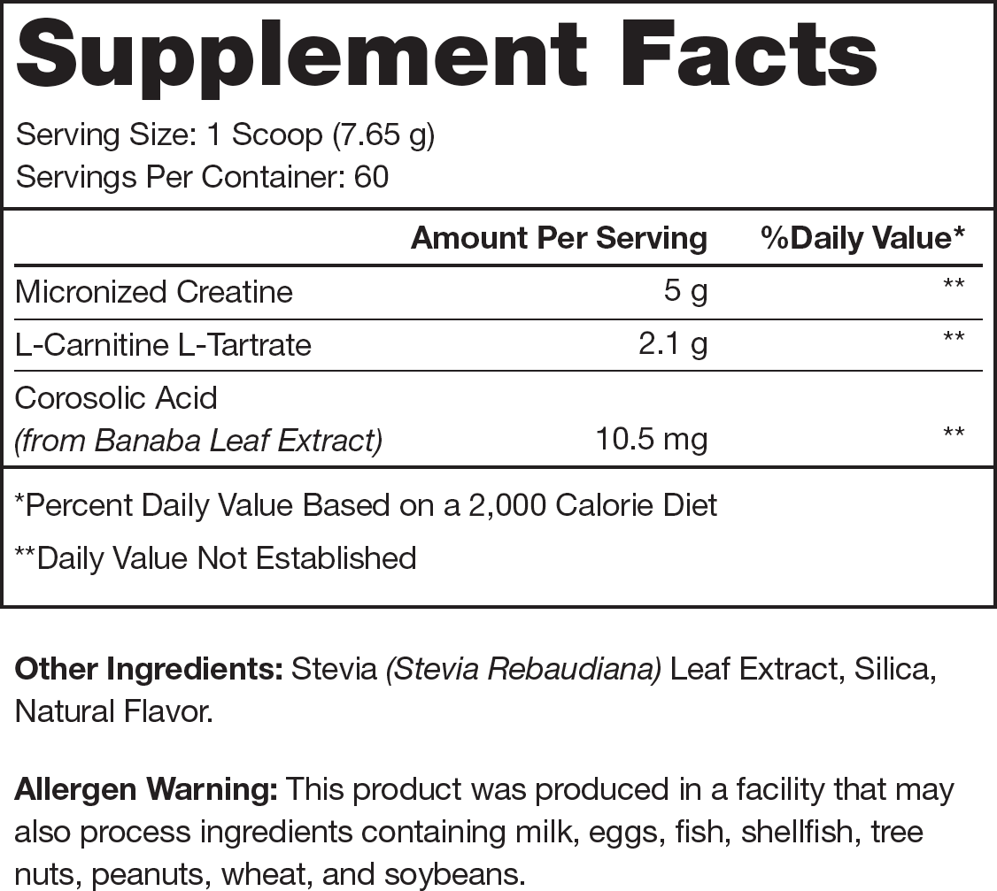 Recharge Unflavored Supplement Facts